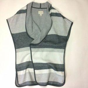 Hinge Gray Stripe Poncho Cardigan Wrap